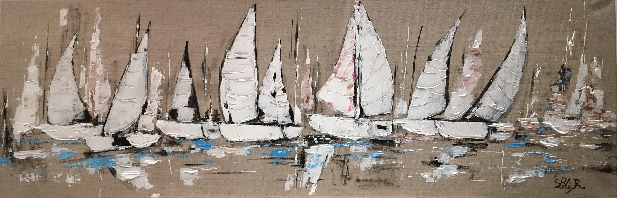 Tableau abstrait les voiliers severine richer normandie