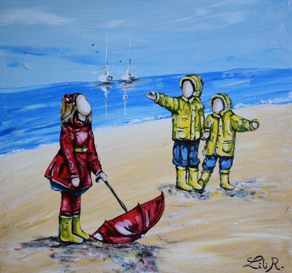 tableaux-enfants-bords-de-plage-en-cires