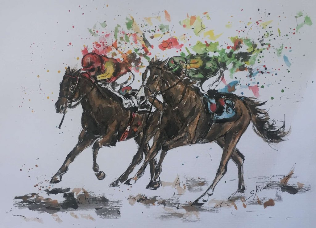 aquarelle-chevaux-de-courses-severine-richer-deauville-clairefontaine