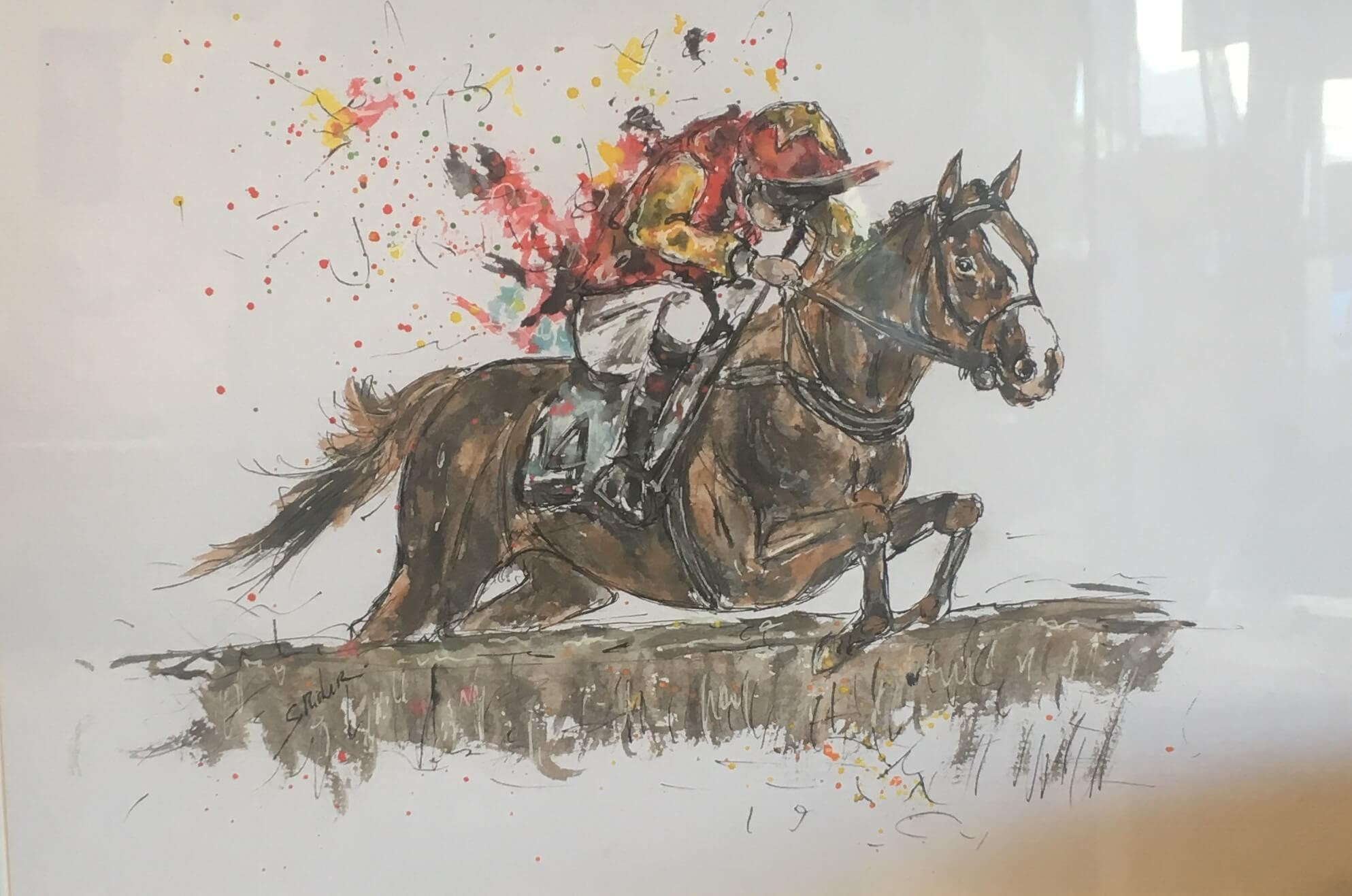 aquarelle-chevaux-de-courses-severine-richer-deauville-clairefontaine-course-saut de haies