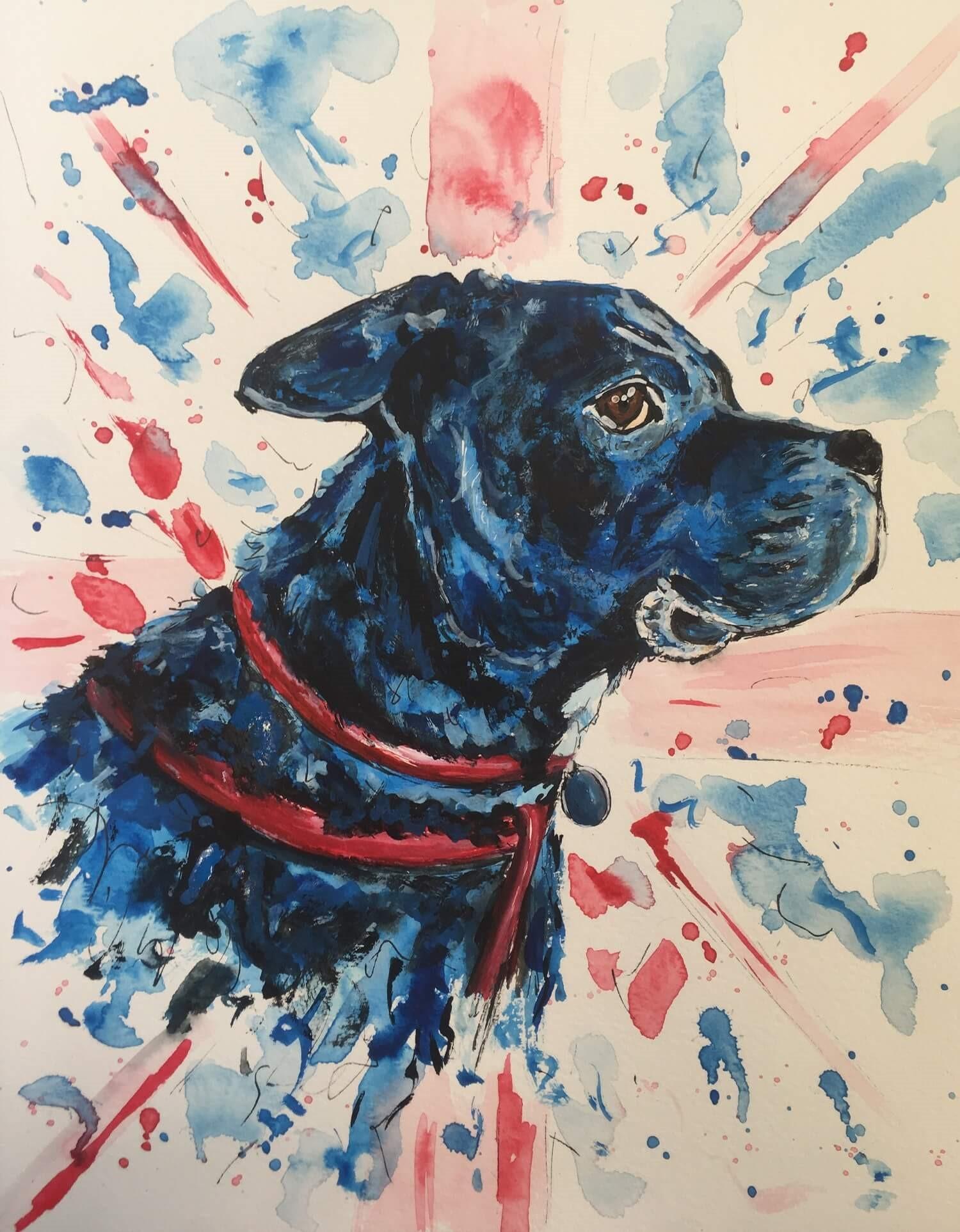aquarelle chien bleu severine richer peindre normand format A4