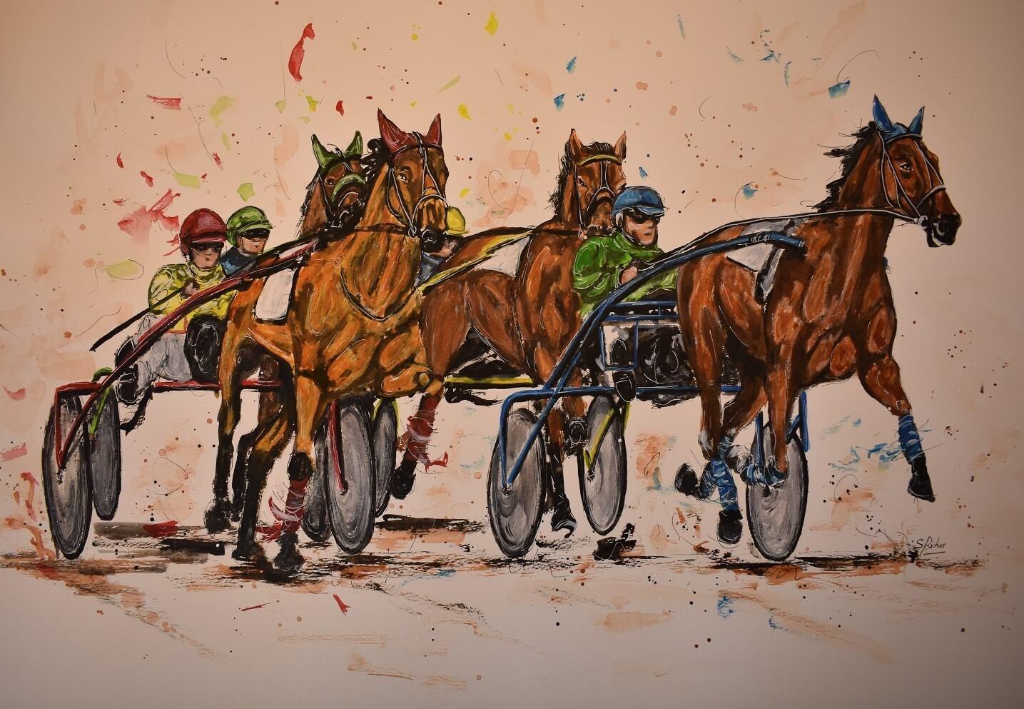 aquarelle les chevaux de severine richer course de trotteur format 65x48 (2)