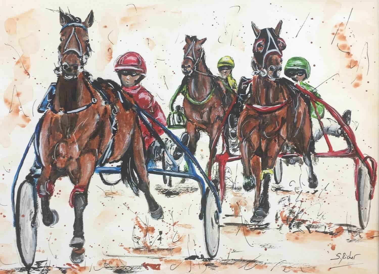 aquarelle les chevaux de severine richer course de trotteurs format A3 (1)