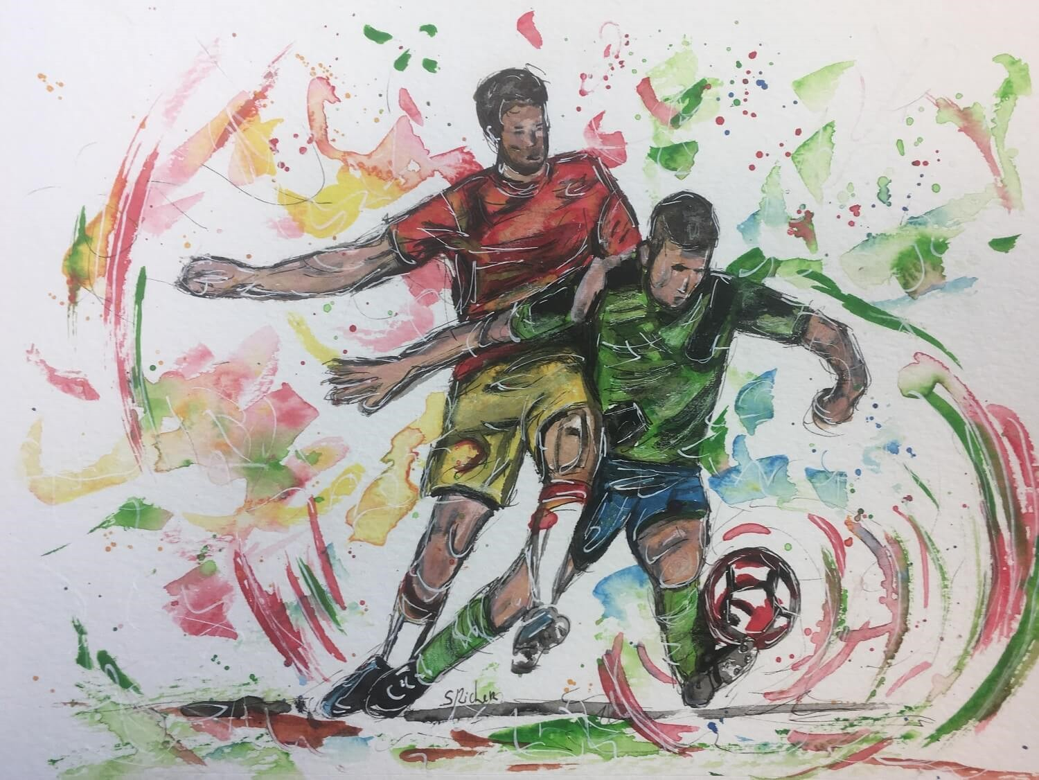 aquarelle les sports foot severine richer peintre normand