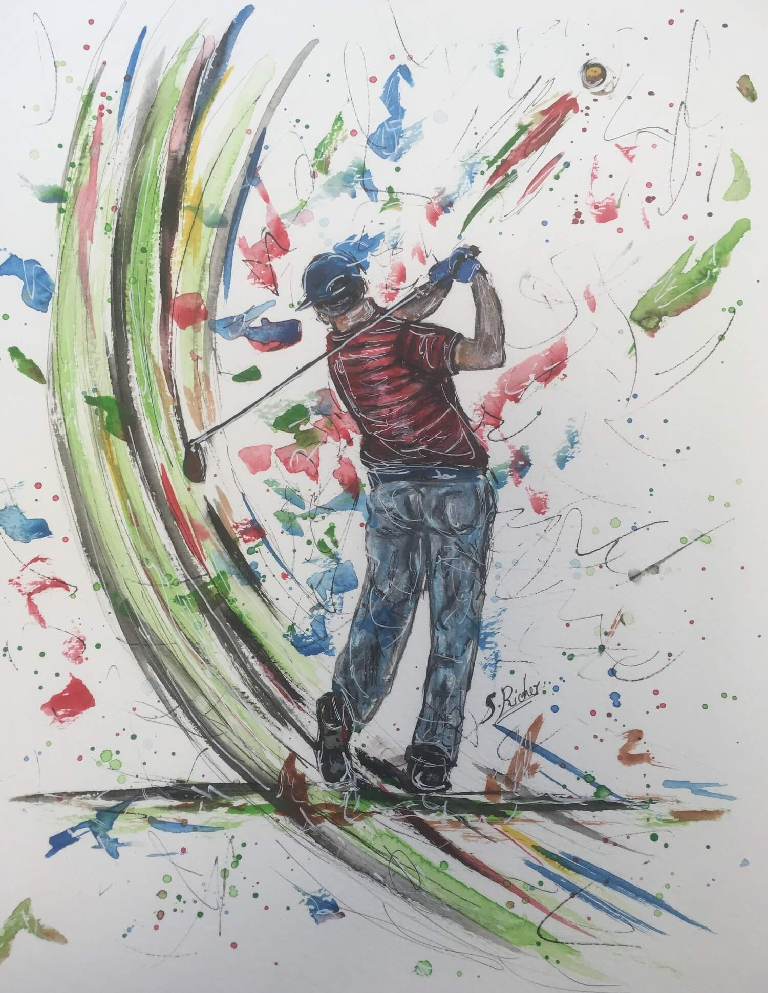 aquarelle les sports golfeur severine richer