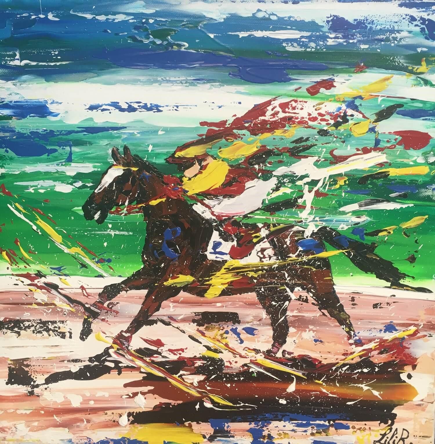 tableau acrylique couteaux les chevaux de lilir solo course galop severine richer peintre normand