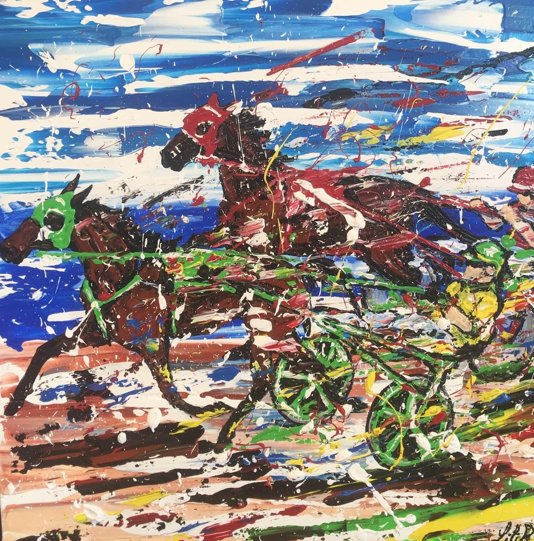 tableau acrylique couteaux les chevaux de lilir sulky severine richer peintre normand