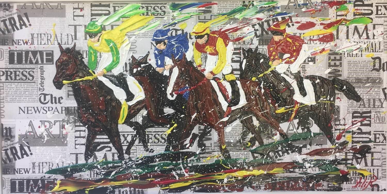 tableau acrylique couteaux les chevaux de severine richer peintre normand