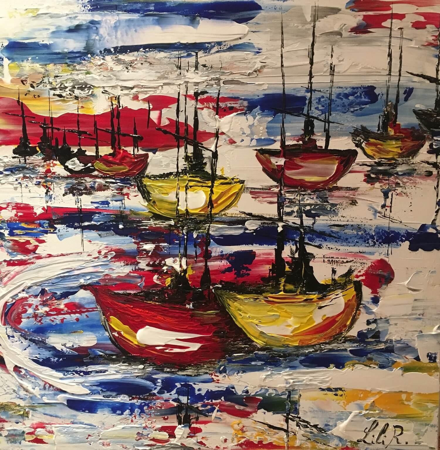 tableau acrylique couteaux my little boat severine richer format 50x50