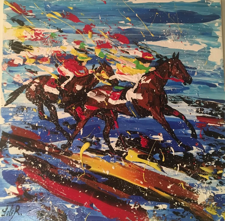 tableau acrylique les chevaux de lilir course galop duo severine richer peintre normand