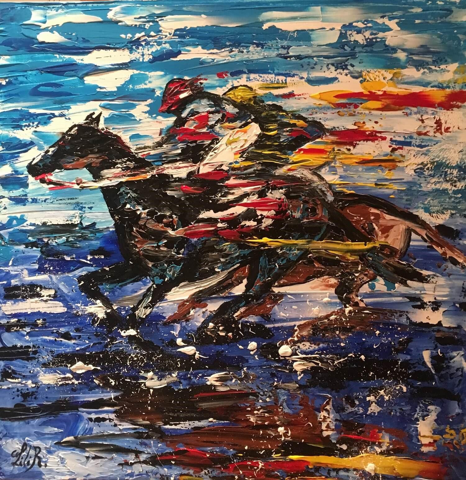 tableau acrylique les chevaux de lilir galop a la plage severine richer peintre normand