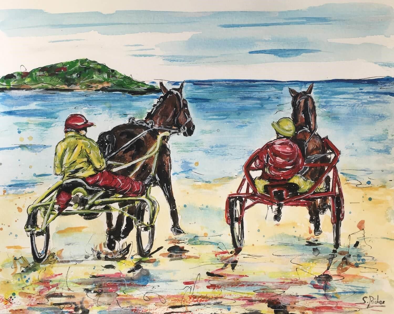 aquarelle-trotteurs-entrainement-sur-plage-severine-richer-peintre-animalier-normand