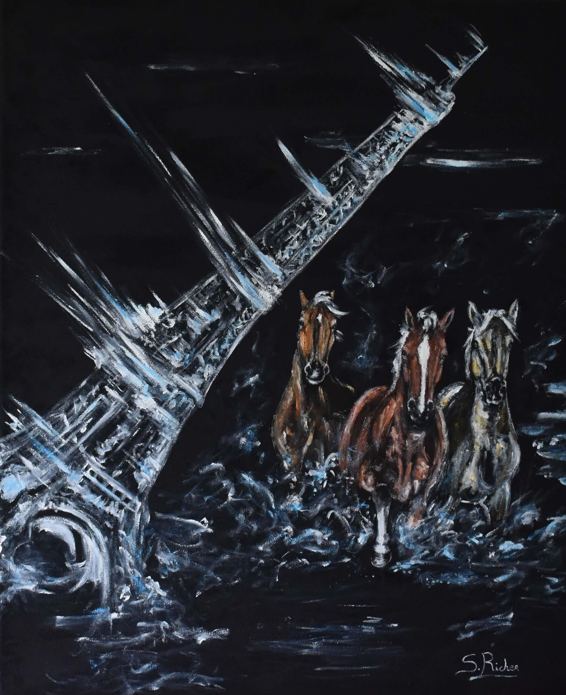 tableau-chevaux-peinture-velours-normandie