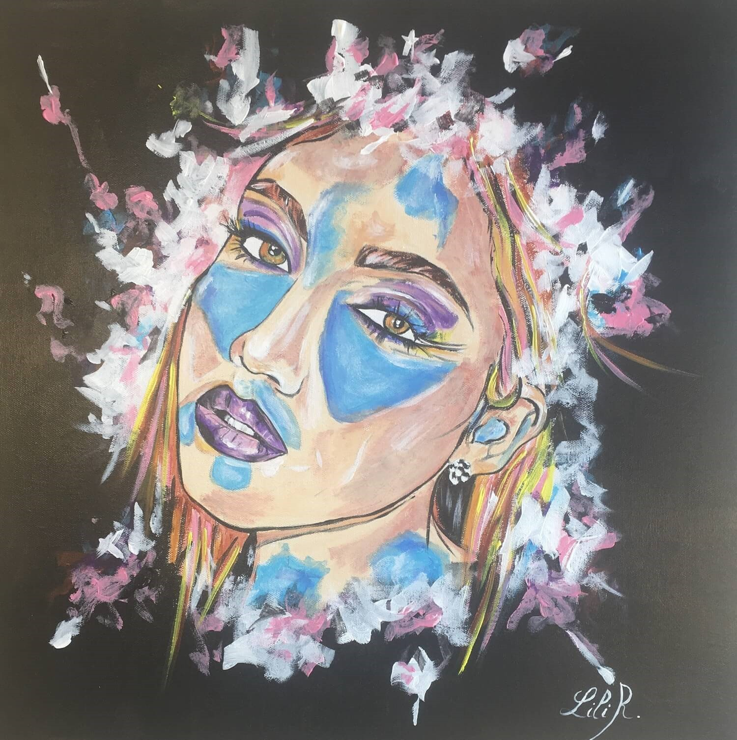 tableau-pop-art-visage-femme-severine-richer-peintre-normand