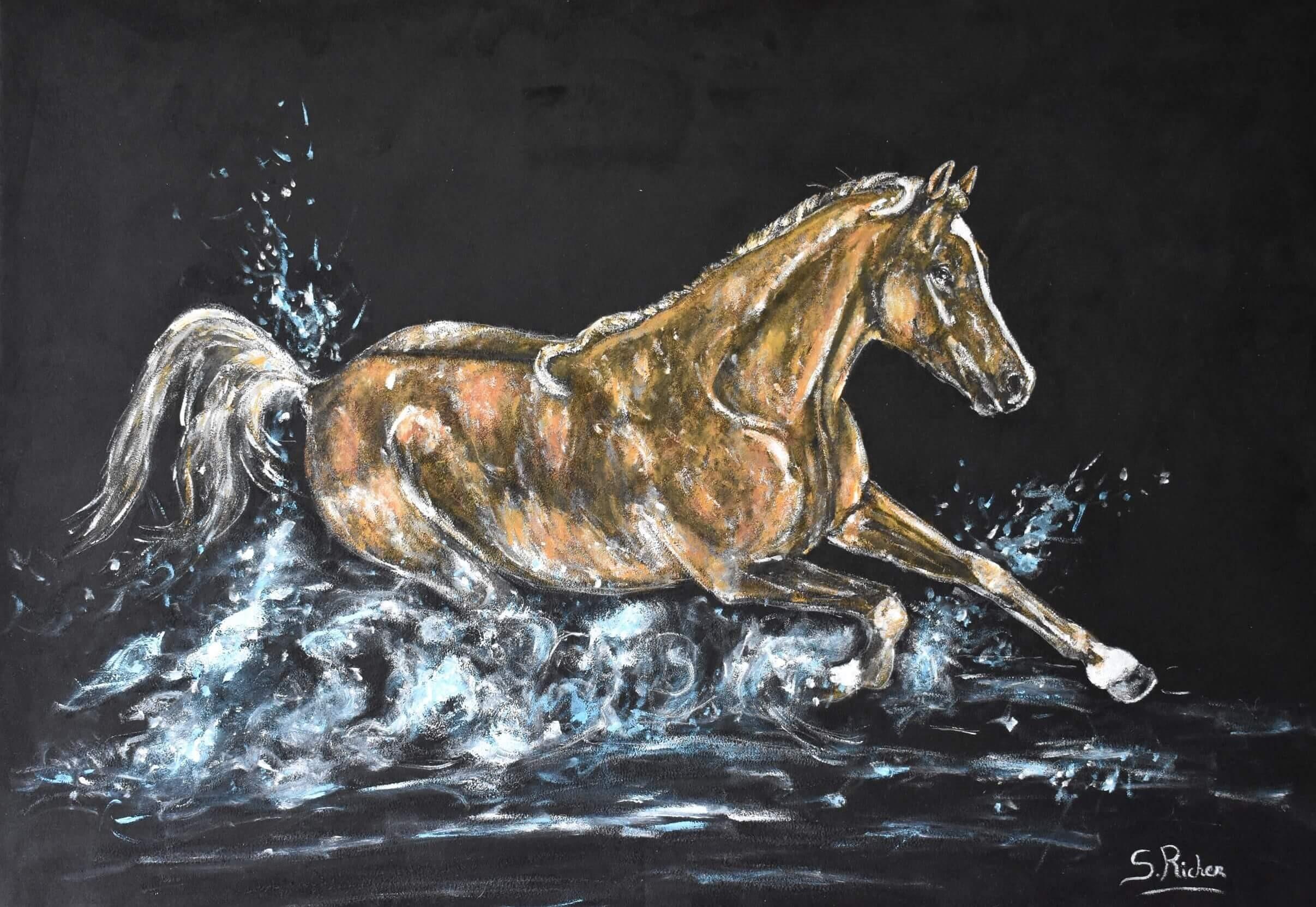 tableau-sur-velours-cheval-dans-l'eau-severine-richer-peintre-normand